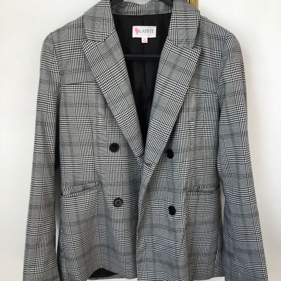 L'Atiste Black and White Plaid Blazer